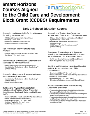 Smart Horizons Courses Aligned to the Child Care and Development Block Grant