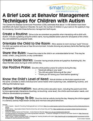 Behavior Management Techniques for Children with Autism